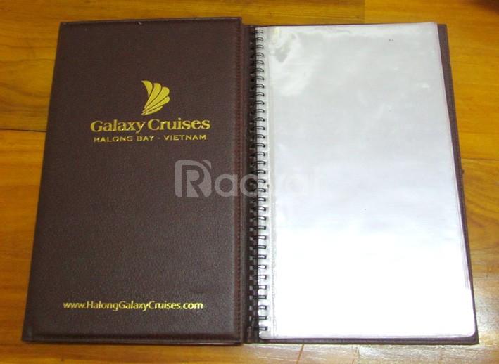Xưởng làm menu bìa da, bìa menu nhà hàng, bìa da sổ tay còng