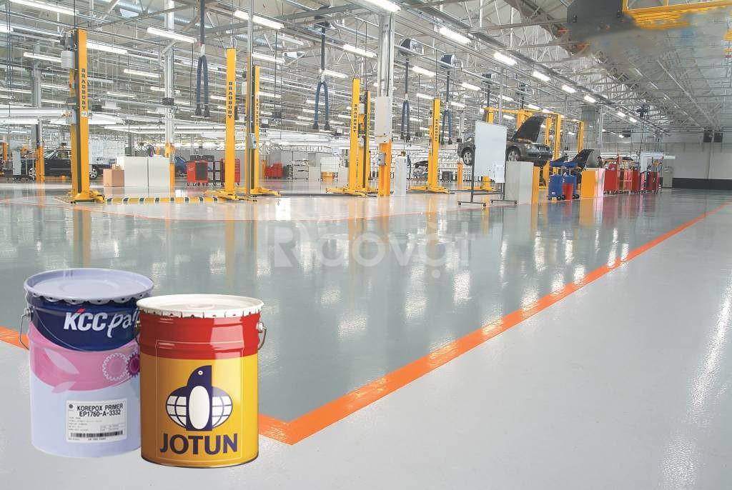 Sơn nền sàn Epoxy kcc Unipoxy Lining tự phẳng màu xám giá rẻ TPHCM