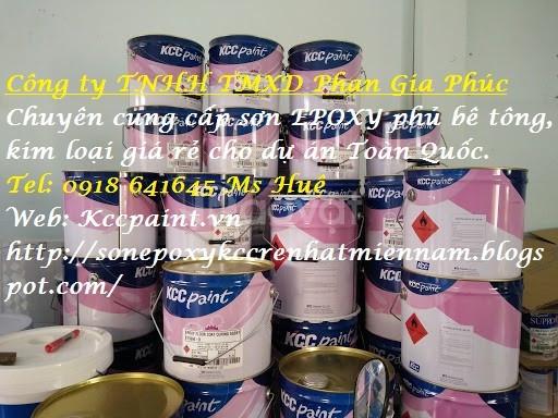Cửa hàng bán sơn nhà xưởng Epoxy kcc tự phẳng Unipoxy Lining màu xanh