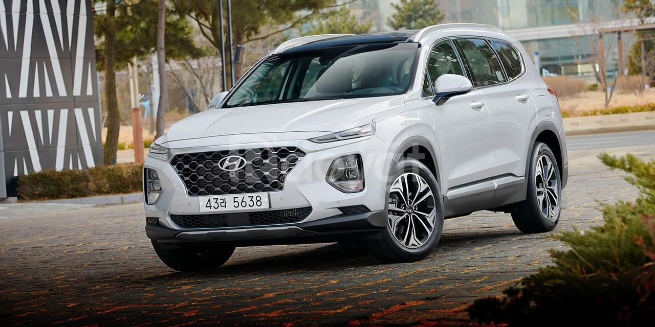 SantaFe 2019, xăng đặc biệt, màu bạc, giao ngay, Hyundai An Phu