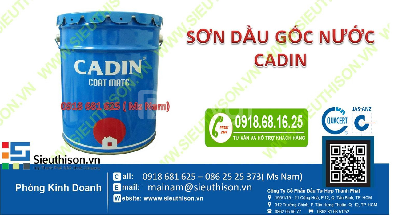 Đại lý sơn dầu gốc nước Cadin không mùi giá rẻ cho tường bê tông