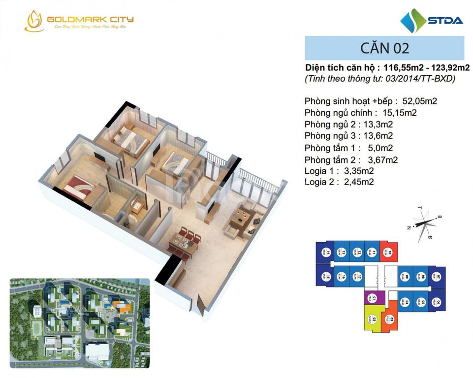 Căn 3 phòng ngủ to tòa Ruby 2, 116m2, Goldmark city