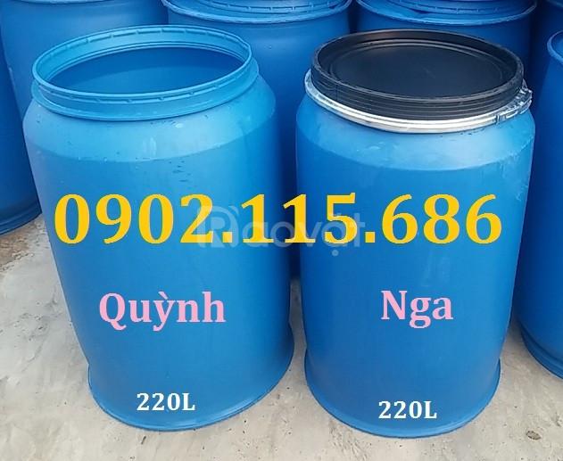Thùng phuy nhựa 220l nắp hở, thùng phuy nhựa có đai sắt