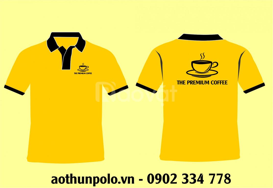 Xưởng sản xuất áo thun đồng phục quán cafe màu đen phối vàng