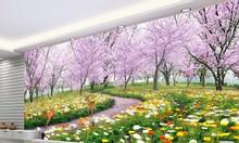 Tranh 3d vườn hoa phòng khách