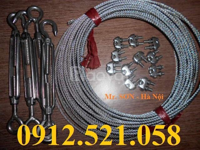 Bán cáp inox 4 ly bọc nhựa, puly inox, mã ní inox, tăng đơ inox