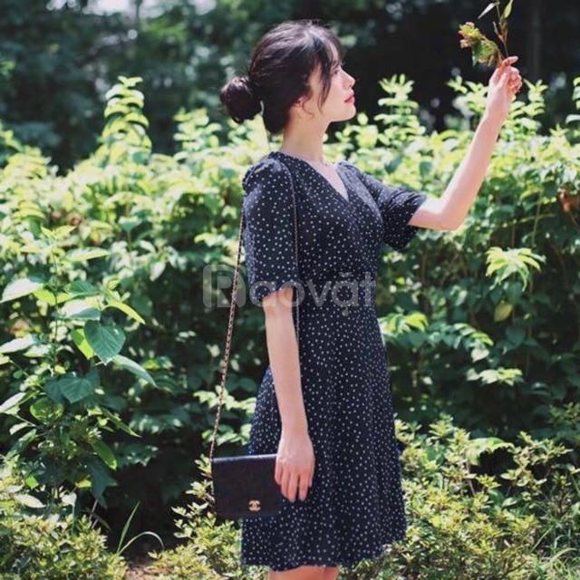 Đầm chấm bi cổ V gợi cảm freesize dưới 55kg
