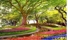 Gạch tranh 3d phòng khác vườn hoa thiên nhiên