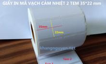 Giấy in mã vạch 2 tem cảm nhiệt 35x22 dùng cho máy xprinter