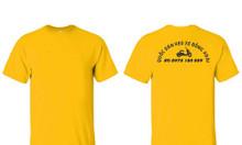 Áo thun đồng phục tiệm dán keo xe màu vàng áo thun cổ tròn màu vàng