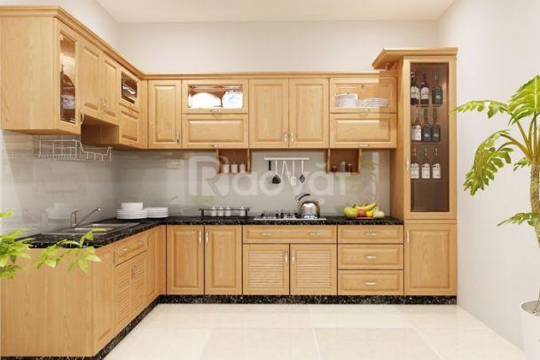 Nhận thi công sản xuất tủ bếp gỗ công nghiệp phủ Melamine