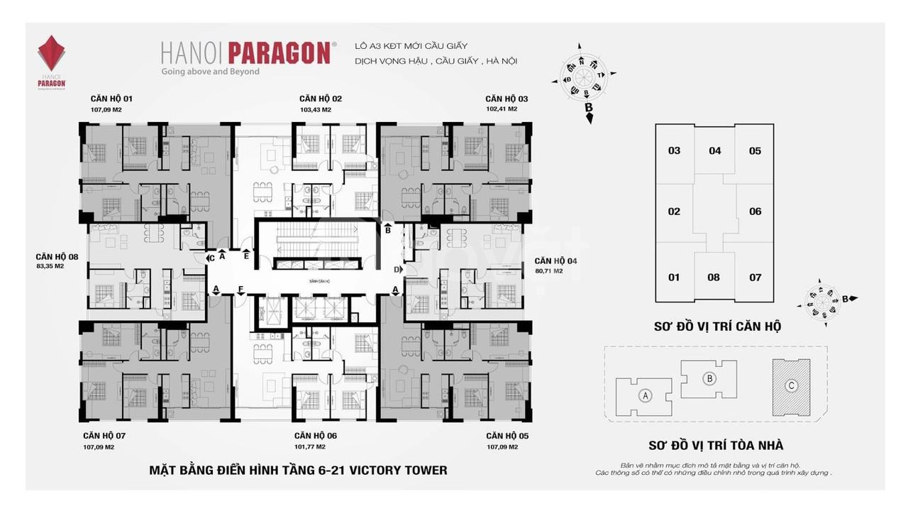 Bán căn 01 tòa C 107m2 3 ngủ Hà Nội Paragon sắp bàn giao