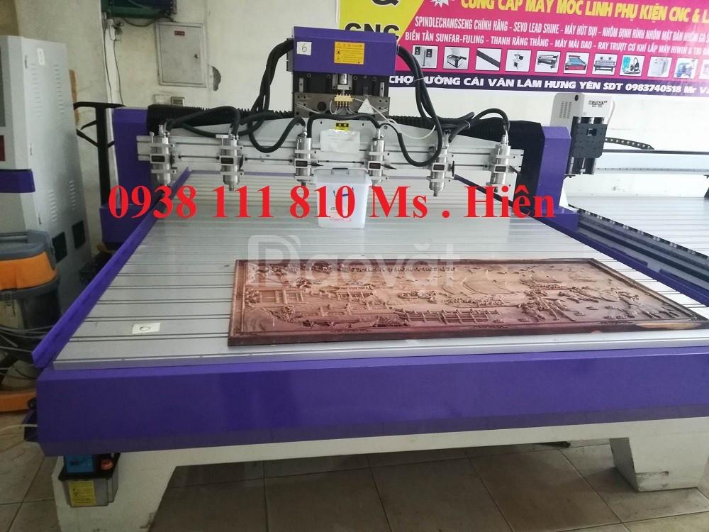 Máy CNC 6 đầu đục tranh, đồ gỗ mỹ nghệ chuẩn