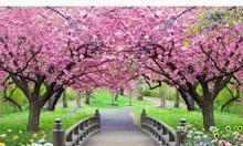 Tranh gạch 3d phong cảnh vườn hoa công viên