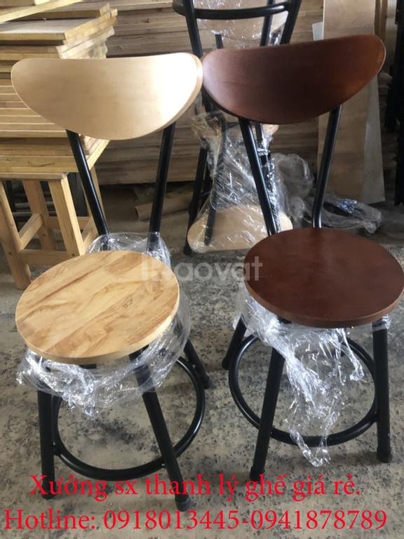 Thanh lý ghế đôn gỗ cafe lưng tựa giá rẻ