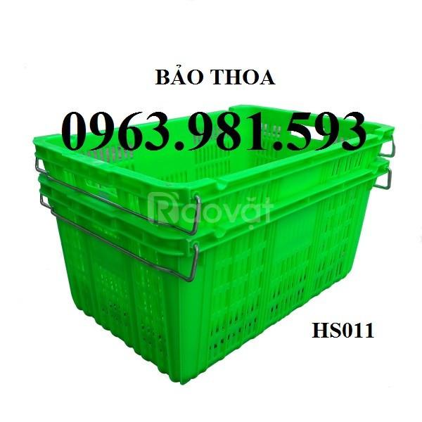 Sóng nhựa có quai sắt hs011, rổ nhựa đan, thùng nhựa rỗng tại Hà Nội