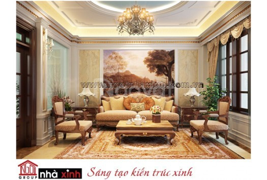 Nội thất phòng khách đẹp mang phong cách cổ điển