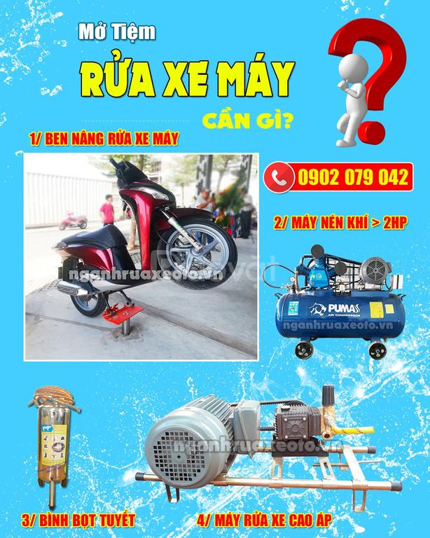 Thiết bị rửa xe ô tô, gắn máy