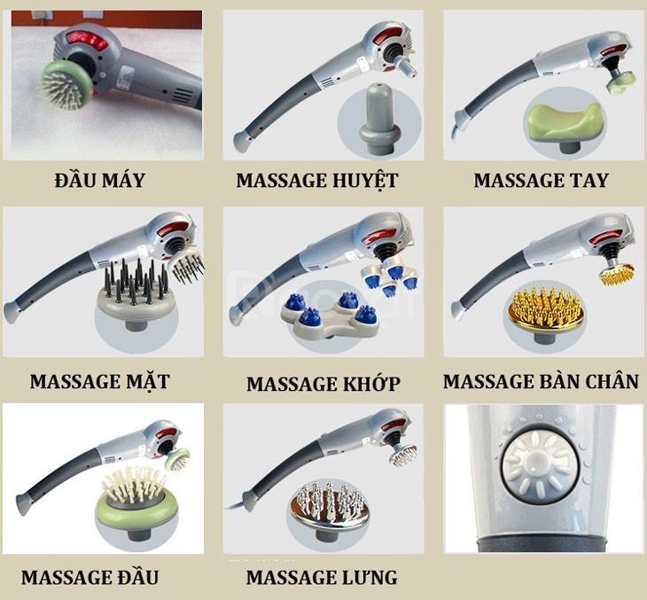 Máy massage cầm tay 7 đầu hồng ngoại Hàn Quốc, gậy cầm tay đấm lưng