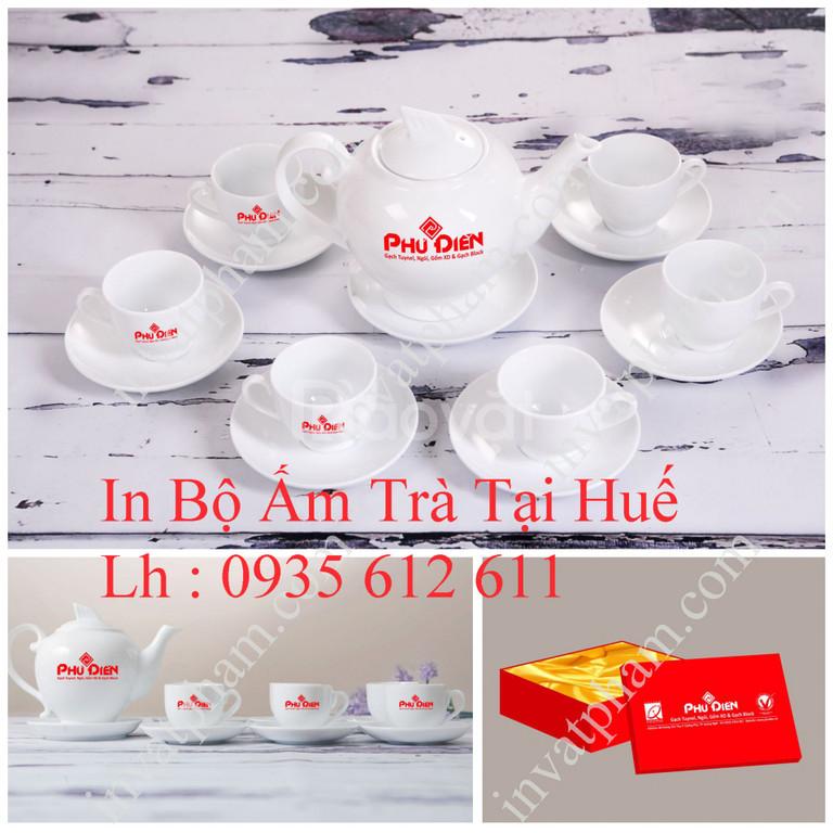 In bộ ấm trà quà tặng tại Huế, in ly thủy tinh Huế