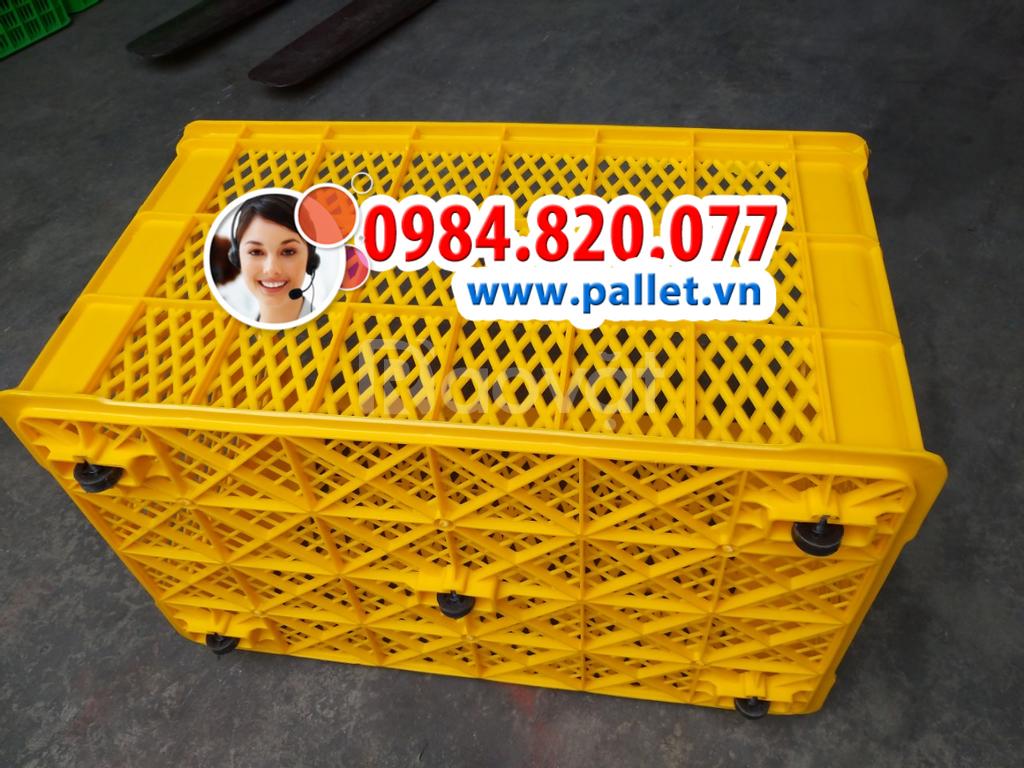 Sóng nhựa hở có bánh xe kích thước 780x500x430 mm giá rẻ