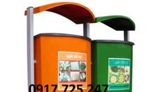 Thùng rác đôi composite KT: 450*450*600mm