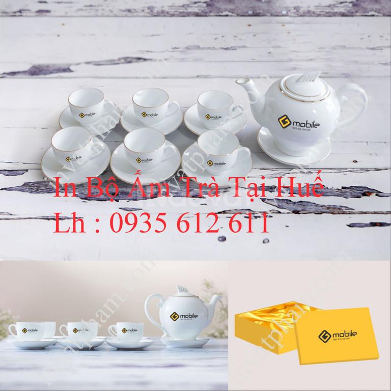 In bộ ấm trà , tách trà tại Huế, in gốm sứ quà tặng tại Huế