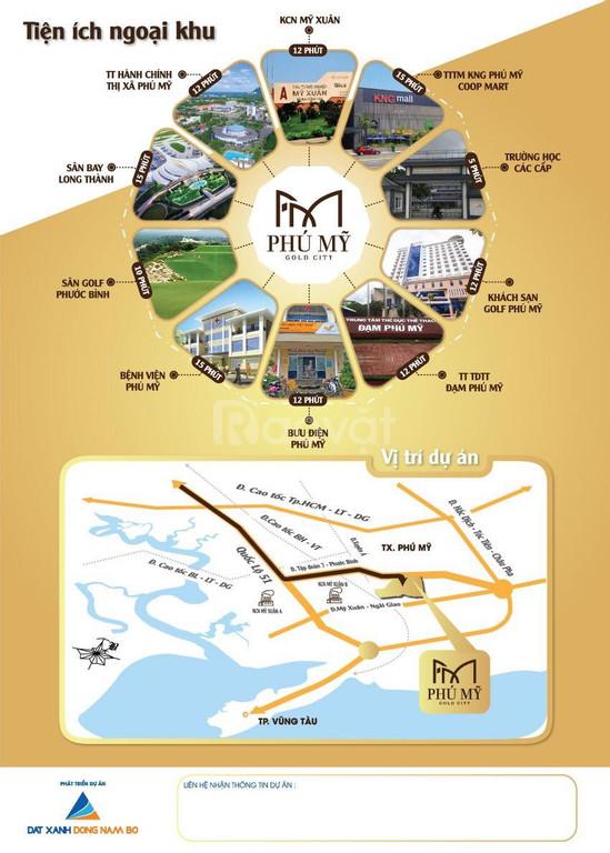 Phú Mỹ Gold City đất nền sổ hồng riêng, vị trí đắc địa gần QL 51