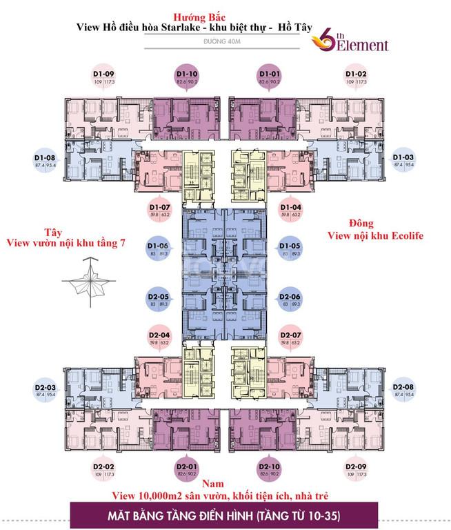 Cần bán gấp căn 09 dự án 6th element, view trực diện Hồ Tây 3 ngủ