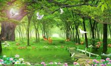 Tranh 3d vườn hoa thiên nhiên