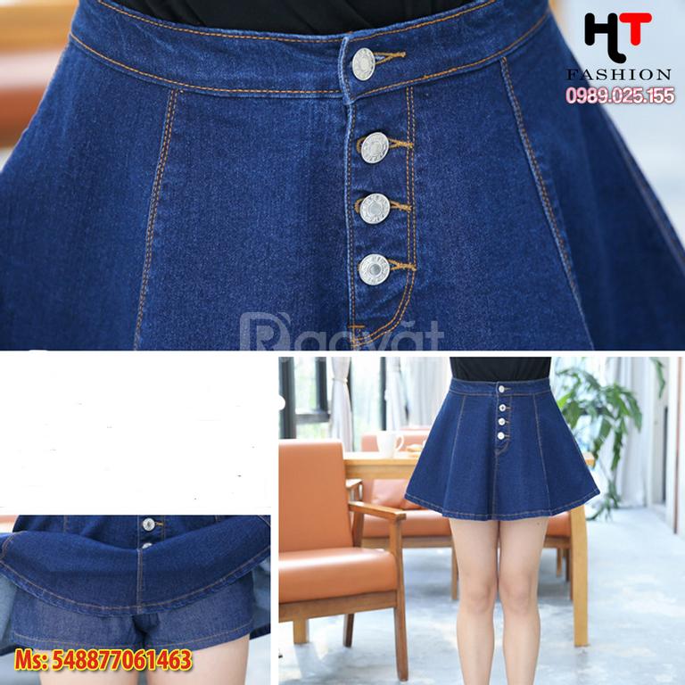 Shop bigsize HT-Fashion - Quần váy jean bgsize xòe