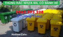 Bán thùng rác công cộng 60L nắp kín có bánh xe tại Hà Nội