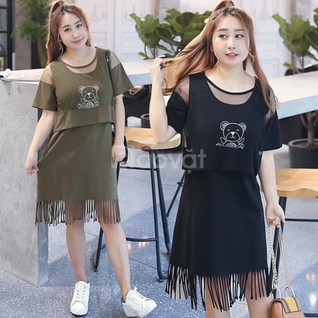 Quần áo bigsize HT-Fashion - Đầm thun bigsize cho người béo bụng