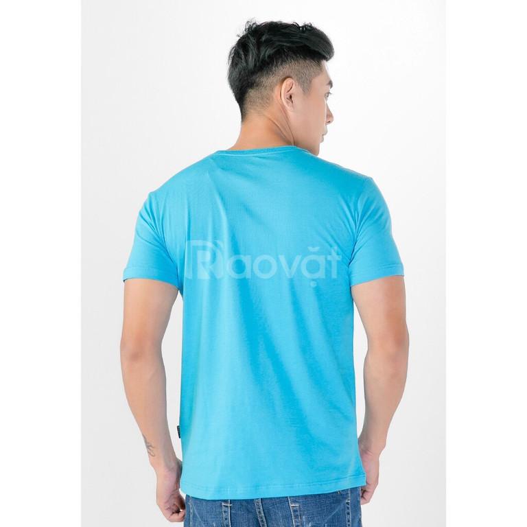Áo thun nam cao cấp 100% cotton màu xanh dương