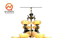 Đèn chùm đồng chao đá BAVIA QN-HT934