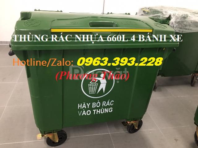 Thùng rác nhựa 660L có 4 bánh xe, thùng rác nhựa công nghiệp