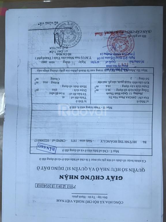 Chính chủ cần bán nhà số 249/24A Phan Văn Trị, phường 11, Bình Thạnh.