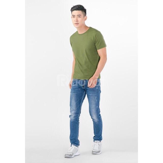 Áo thun nam cao cấp màu xanh rêu 100% cotton