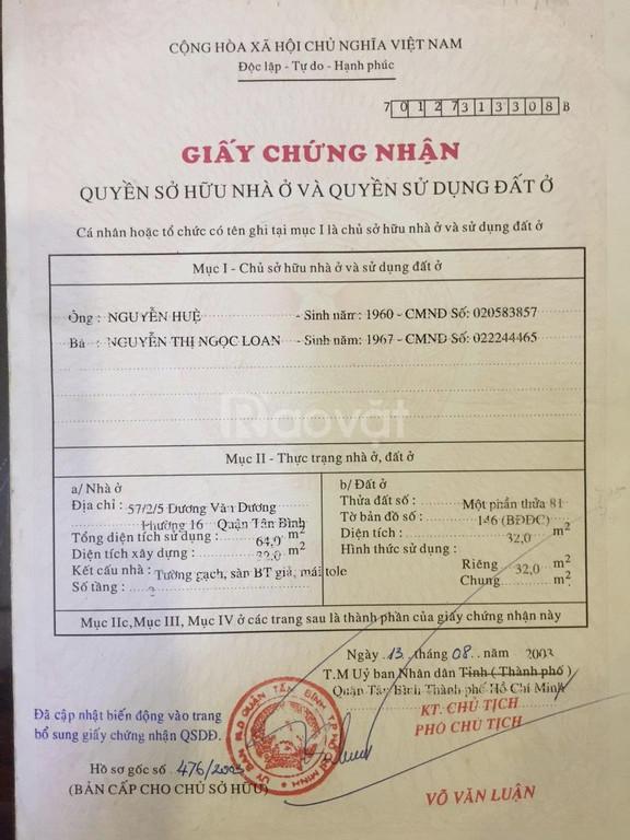 Bán nhà hẻm 1 trệt 1 lầu, 2PN đường Dương Văn Dương, Tân Phú, giá rẻ