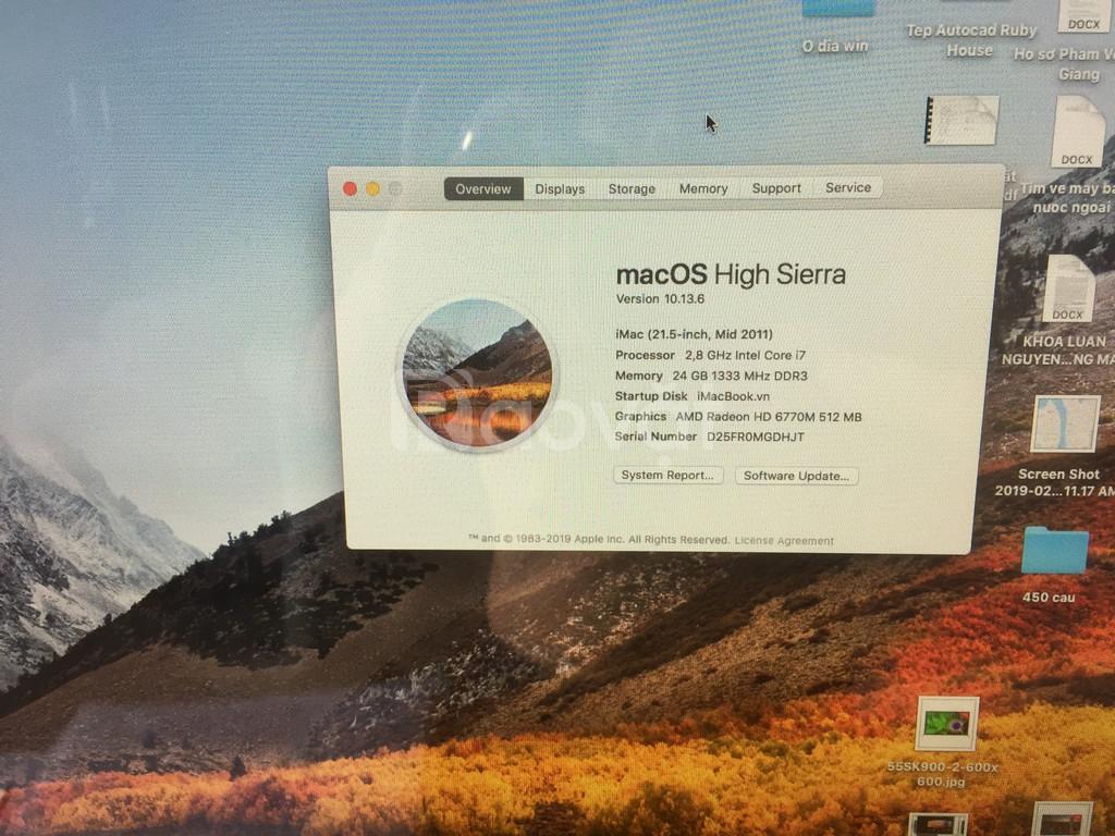 IMAC 21,5 inch i7 - 24 GB DRAM- SDD 250 GB; HDD 500 GB