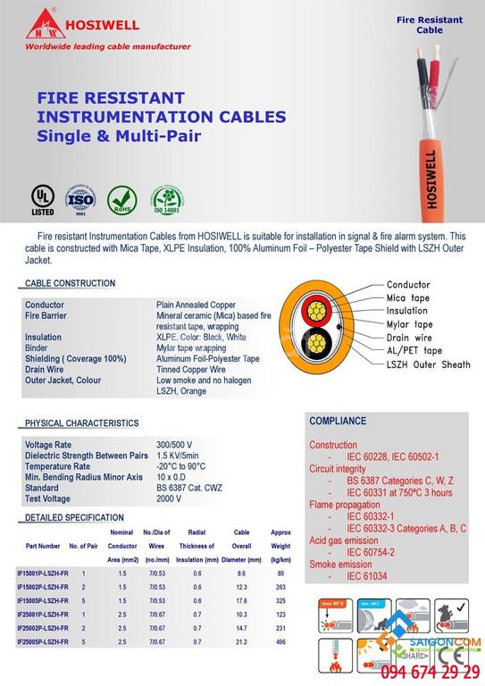 Cáp tín hiệu chống cháy 2x1.5mm2 Hosiwell