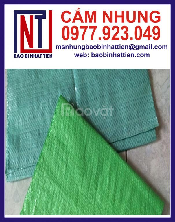 Bao PP dệt xanh dương, xanh lá đựng gạo