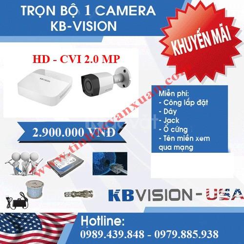 Lắp đặt trọn bộ camera KBVISION 2.0 mxp full hd chỉ 2tr9