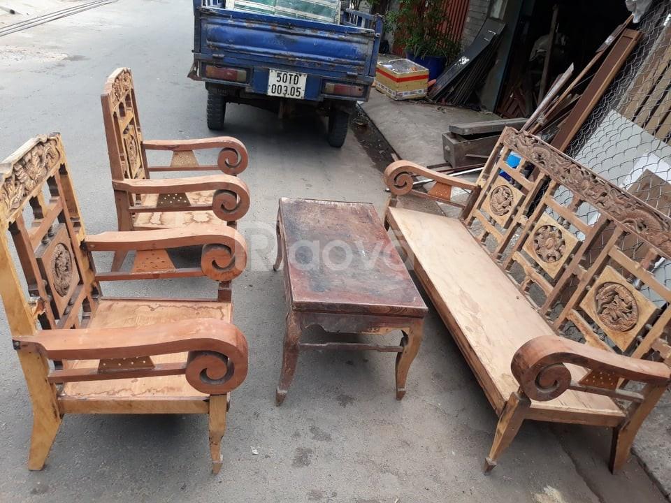 Salon tay cuộn xưa, bàn ghế phòng khách gỗ quý, thanh lý giá rẻ 3tr5