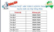 Ngoại ngữ ABC tuyển sinh khóa học tiếng Hàn