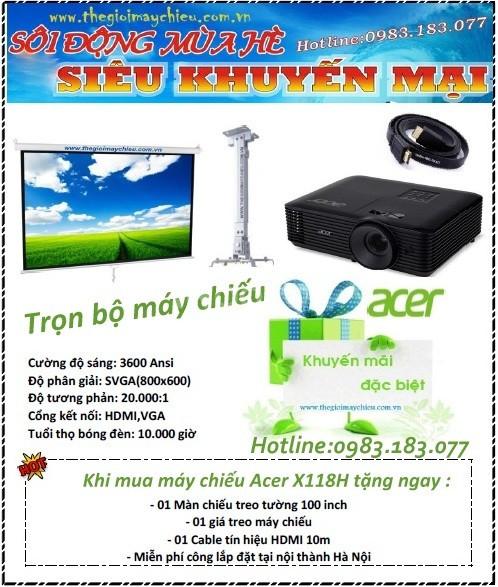 Trọn gói máy chiếu Acer X118H