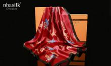 Khăn vuông lụa tơ tằm họa tiết Cửu Ngư Quần Hội