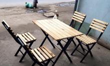 Bộ bàn ghế xếp gỗ khung sắt