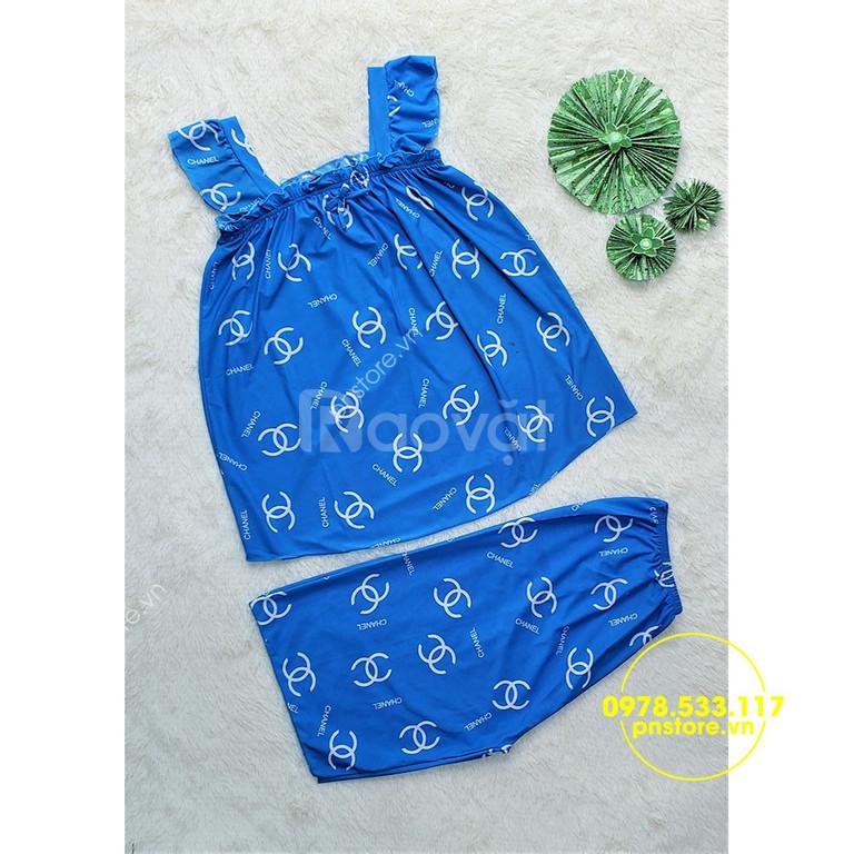 Chuyên sỉ đồ bộ lửng thun lạnh quai cánh tiên họa tiết (Mã 27255) (ảnh 5)