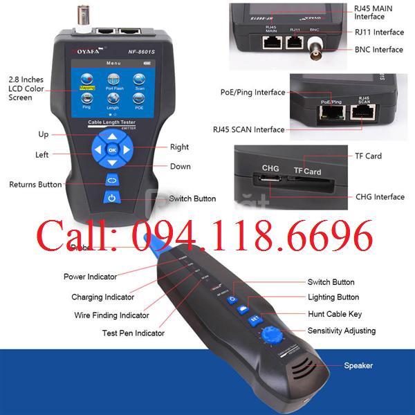 Máy test dây mạng NF-8601S, đa chức năng RJ45, RJ11, BNC
